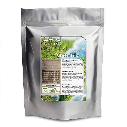 NuraFit Green Trio Presslinge - 500g / 0.5 kg - Rohkostqualität - Tabs aus 100% reinem Gerstengras, Chlorella & Spirulina - vegane Superfood Tabletten