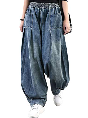 ebossy Women's Denim Harem Pants Elastic Waist Pleated Wide Leg Baggy Jeans (X-Large, Blue)