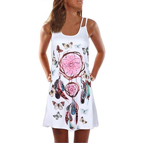 VEMOW Sommer Elegante Damen Frauen Lose Vintage Sleeveless 3D Blumendruck Bohe Casual Täglichen Party Strand Urlaub Tank Short Mini Kleid(Weiß 8, 42 DE/XL CN)