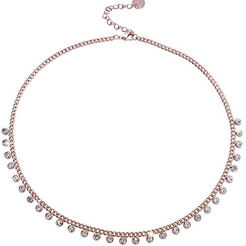 Beloved  Gargantilla de mujer de acero con casquillos colgantes – Cristales blancos – Cierre con mosquetón – Oro rosa