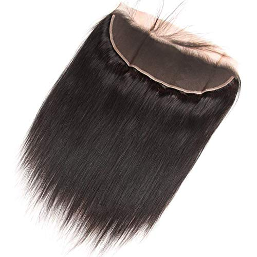 Ear to Ear Natural Black 16 Inch 13x4 Straight Lace Frontal Closure Human Hair 13x4 Pre-Plucked Full Lace Frontal Closure Straight Human Hair Brazilian Remy Virgin Human Hair Lace Frontal Closure