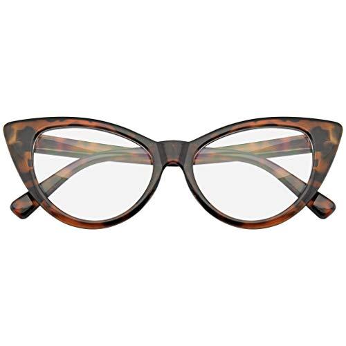 Emblem Eyewear Super Cat Eye Brille Vintage-Mode Mod Clear Lens Brillen (Braun)