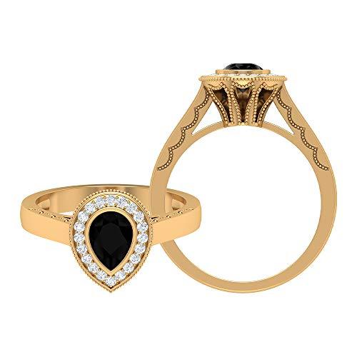 Rosec Jewels 18 quilates oro amarillo pera Round Brilliant Green Moissanite Ónix negro