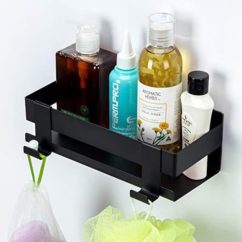 Temgin Bad Duschablage Selbstklebender Duschregal Ohne Bohren Duschkorb mit Haken für Badezimmer Küche Schwarz 22CM