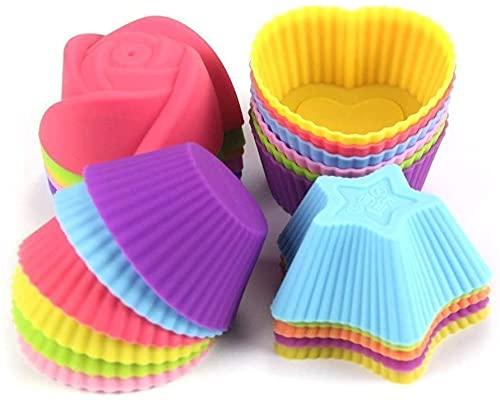 Moldes de silicona reutilizables para hornear magdalenas, antiadherentes para hornear, magdalenas, moldes para pasteles y cupcakes, 24 unidades de colores