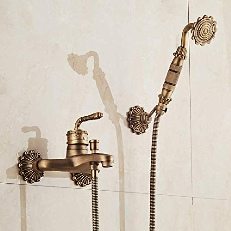 Dwthh Frap Bathroom Shower Faucet Set Bronze Retro Style Bathtub Faucets Shower Tap Bath Shower Waterfall Shower Head Wall Mixer