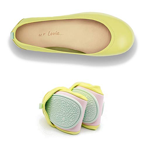 Women's Leather Ballet Shoes with Comfortable Foldable Portable travel (Yellow, Numeric_42)