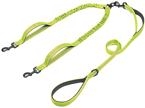 iYoPets Double Dog Leash with Three Extra Traffic Handles, 360 Swivel No Tangle Dual Dog Walking Leash, Comfortable Shock Absorbing Reflective Bungee for Two Dogs (18-120 lbs, Green)
