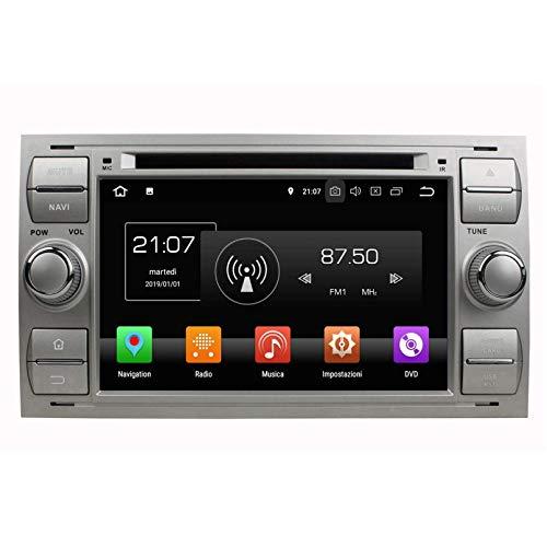 (Argento) 7 Pollici Touchscreen Android 8.0 Autoradio per Ford Focus(2005-2007)/Fiesta(2005-2008)/Kuga(2008-2011)/Mondeo(2003-2007)/S-MAX(2005-2009)/C-MAX(2006-2010)/Galaxy(2000-2009), DAB+ Radio