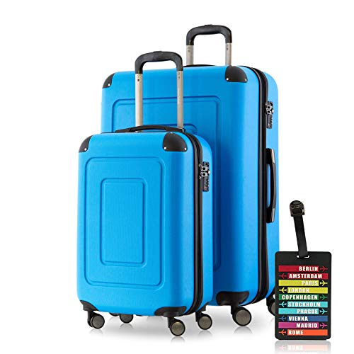 Happy Trolley Lugano Koffer-Set, 76 cm, 113L, Cyan Blau