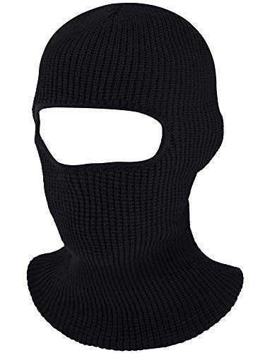 1-Hole Knitted Full Face Cover Ski Mask, Adult Winter Balaclava Warm Knit Full Face Mask for Outdoor Sports Black