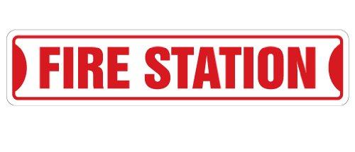 "FIRE STATION Street Sign firefighter house fireman trucks cook | Indoor/Outdoor | 18"" Wide Plastic Sign"