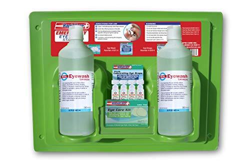 "Rapid Care First Aid 665-32 Eye Wash & Eye Care Station, FDA Compliant, 2 x 32oz Sterile Isotonic Eye Wash Bottles, Eye Care Kit, Eye Wash Droppers; Eye Drops, Wall Mountable, 19.5"" x 14.5"" x 5.0"""