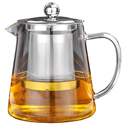 Huante 5Sizes Good Clear Borosilicate Glass Teapot With 304 Steel Infuser Strainer Heat Coffee Tea Pot Tool Kettle Set 380Ml