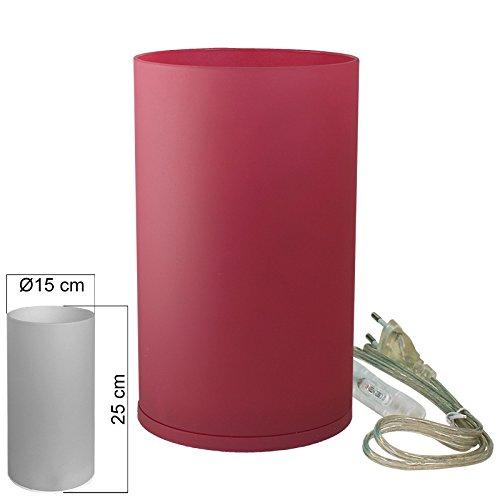 Tischleuchte Glas rot Tischlampe E14 in Zylinder Form Höhe 25cm
