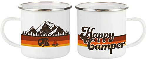 FuanYuanfang Happy Camper Coffee Mug Funny Enamel Camping Campfire Mug - Mountain Camping Tea Cup, Nature Outdoor Hiking Birthday Christmas Camp Lover Gifts for Man, Woman, Friends 11oz