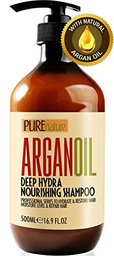 Moroccan Argan Oil Shampoo SLS Sulfate Free Organic - Best for Damaged, Dry, Curly or Frizzy Hair -...