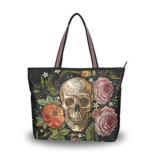 Emoya Damen Schulter-Handtasche Stickerei Gothic Totenkopf rote Rosen Pfingstrosen Top Griff Tasche Große Tragetasche, Mehrfarbig - multi - Größe: Large