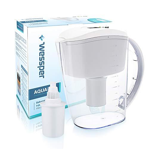 Wessper Caraffa filtrante per Acqua alcalina, Acqua alcalina brocca con 1 Filtro, Sistema di filtrazione ionizzatore a 7 Fasi – Bianca, 3.5 Litri