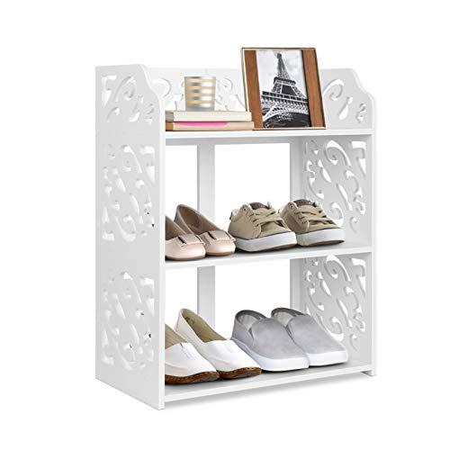 3 Tiers White Shoe Rack Floor Standing Shoe Rack Cabinet Display Rack...