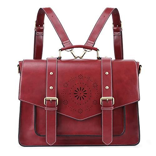ECOSUSI Borsa Tracolla Donna Borsa Messenger Donna per Laptop 15.6 Borsa Vintage per Lavoro Rosso