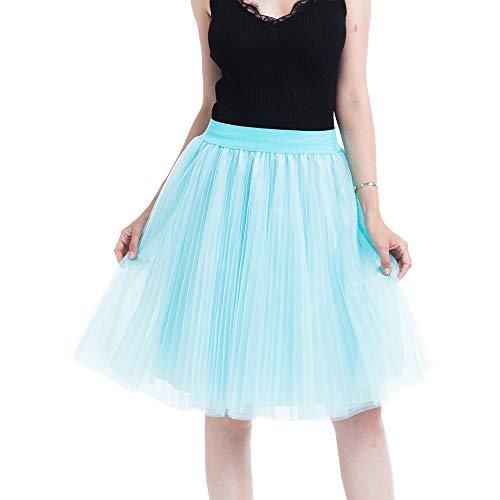 YWLINK Damen Plissee Prinzessin Rock Unterrock Vintage Petticoat 4 Lagen Mesh TüLl Rock Karneval Party Rock TüLlrock Damenrock