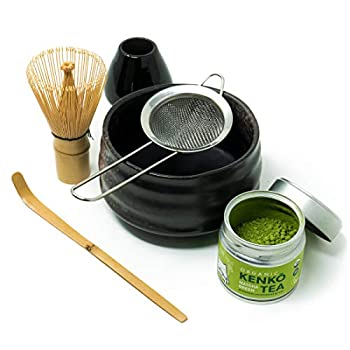 Kenko Tea Matcha Tea Ceremonial Set with Bowl Bamboo Whisk Bamboo Scoop Whisk Stand and Sifter Comes with 30g Organic Ceremonial Matcha
