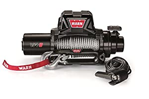 "WARN 96800 VR8 12V Electric Winch with Steel Cable Rope: 5/16"" Diameter x 94' Length, 4 Ton (8,000 lb) Capacity"