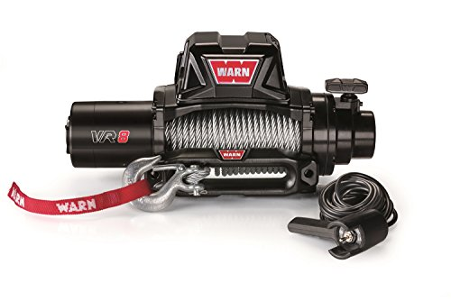 WARN 96800 VR8 12V Electric Winch with Steel Cable Rope: 5/16' Diameter x 94' Length, 4 Ton (8,000 lb) Capacity