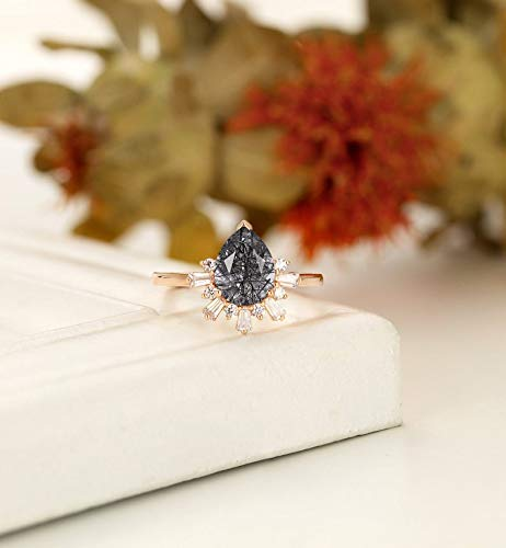 Vintage Black Rutilated Quartz Engagement Ring, Art Deco Wedding Ring, Unique Pear Shaped Ring, Halo, Eternity CZ/Diamond Bridal Ring, Jewelry For Women For Weddings, Birthday, Anniversary, Daily Wear