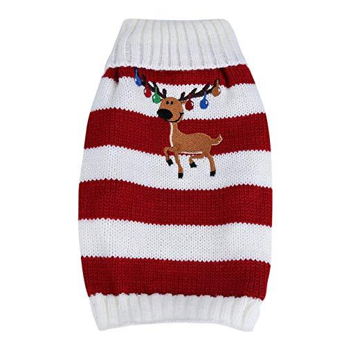 Traje de cachorro, suéter cálido para mascotas, para vacaciones y ocasiones especiales, para decoración de mascotas,(red, M)