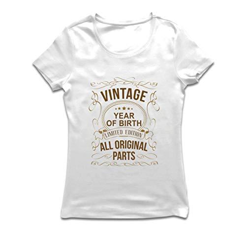 lepni.me Camiseta Mujer Año Personalizado Todas Las Piezas Originales Regalo de cumpleaños Vintage (Small Blanco Multicolor)