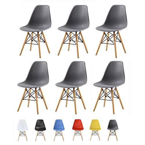 MCC Retro Design Stühle LIA Esszimmerstühle im 6er Set, Eiffelturm inspirierter Style für Küche, Büro, Lounge, Konferenzzimmer etc, 6 Farben, Kult (Grau)
