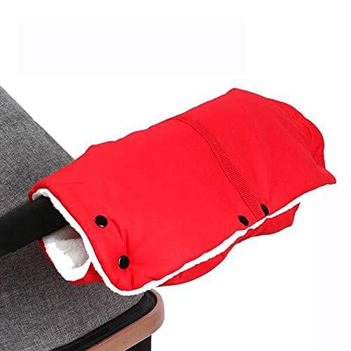 Guantes De Cochecito De Bebé, Cochecito Hand Muff Warm Gloves Guantes Anticongelantes Impermeables Extra Gruesos Regalo De Invierno para Padres Y Cuidador,Rojo