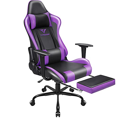 Vitesse Gaming Chair Office Computer Desk Chair with Footrest and Headrest Racing Game Ergonomic Design High-Back E-Sports Chair PU Leather Swivel Chair (Purple)