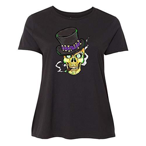 inktastic Mardi Gras Skull with Cigar Women's Plus Size T-Shirt 1X Black 39cfe