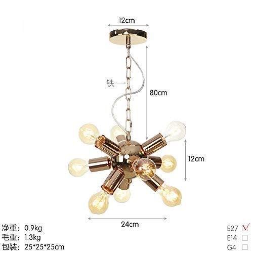 Amerikaanse decoratieve lamp smeedijzeren ketting meerdere koppen roodgoud eenvoudige hanglamp industriële -D1110-9 Franse kop goud_zonder lampen