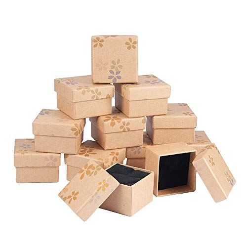 nbeads 1 Satz 12 Teile/Satz Quadrat Karton Perlen Kraft Geschenkbox mit Gedruckt Blume Für Schmuck und Geschenk Lagerung, 4,8×4,8×3,9 cm