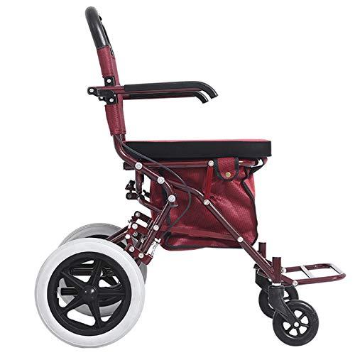 ZYQDRZ Gammaldags skoter, hopfällbar kundvagnssäte, kan sitta på fyra hjul, köp mat för att hjälpa promenader, kan skjuta vagn, äldre vagn, röd