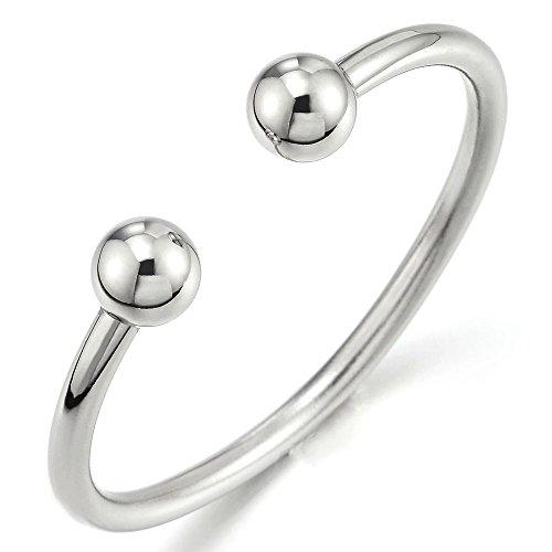 COOLSTEELANDBEYOND Elastische Verstellbare Edelstahl Ball Manschetten Armband für Herren Damen Armreif Farbe Silber Poliert