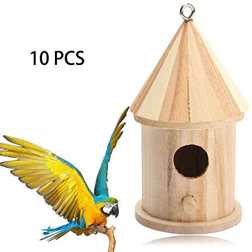 ZXL Houten Vogelhuisje, Vogelhuisje Ophangende Natuurlijke Houten Vogel Nesting Box Handgemaakte Hut Tuin Buiten, Tuin Decoratieve Vogelhuisje, Tuin Decoratie Shelter Nesting Habitat. 10 stuks.