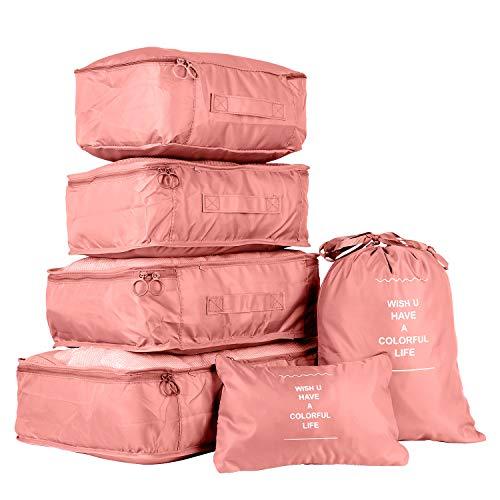 Organisateurs de Voyage Sacs Rangement de Valise, Cubes de Voyage Organiseurs de Bagage 6 Set Différents Tailles Sacs de Compression