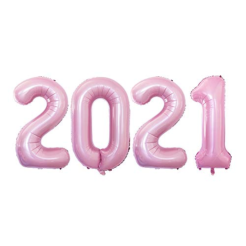 GOER 42 Inch 2021 Light Pink Foil Number Balloons for 2021 New Year Eve Festival Party Supplies Graduation Decorations