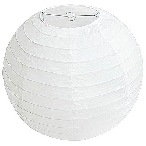 Outflower - Lot de 10 lanternes rondes en papier - 30 cm - pour mariage, anniversaire, goûter, décoration, couleur blanche, Papier + cadre en métal., blanc, 30 cm