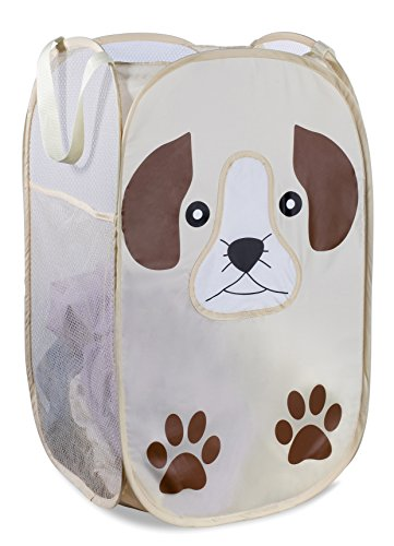 Mesh Popup Laundry Hamper - Portable, Durable Handles, Collapsible for Storage and Easy to Open. Folding Pop-Up Clothes Hampers are Great for The Kids Room, College Dorm or Travel. (Puppy)
