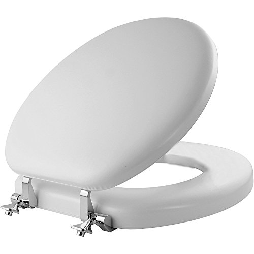MAYFAIR Soft Toilet Seat with Chrome Hinges, ROUND, Padded with Wood Core, White, 13CP