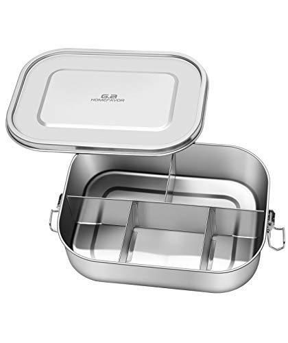 G.a HOMEFAVOR Brotdose Edelstahl Lunchbox 1400ml Auslaufsicher Brotdose Bento Box Fassungsvermögen mit 5 Fächern Für Kinder & Erwachsene.