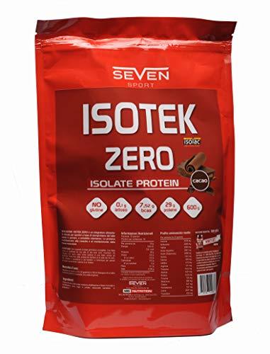 ISOTEK ZERO - Sieroproteine del latte isolate in polvere a solubilità istantanea, con 30g di proteine, 7,52g di BCAA, 0,1 di lattosio e senza glutine - 2,4 kg (4 buste da 600 g) gusto cacao