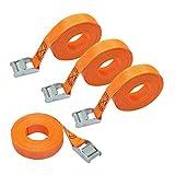 Amazon Basics - Correa de Amarre, 6 m de Largo, 25 mm de Ancho, Capacidad de Carga 150 Kg, DIN EN 12195-2, Paquete de 4, color Naranja