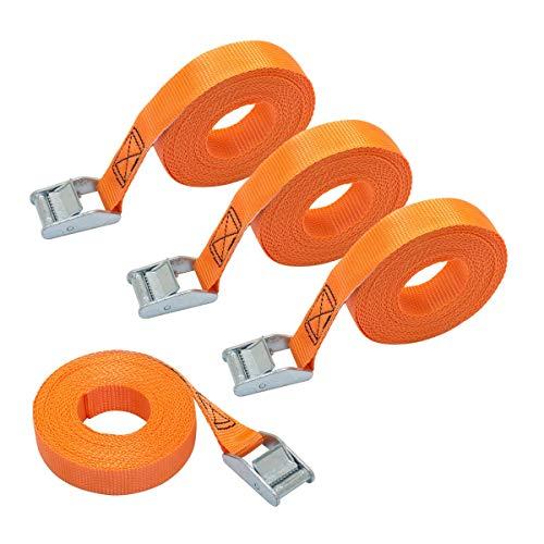Amazon Basics – Spanngurt, 6m lang, 25mm breit, Belastbarkeit 150kg, entspricht DIN EN 12195-2, Orange, 4Stück